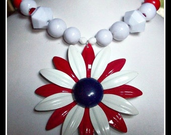 Handcrafted One Nation Beaded Floral Enamel Statement Necklace