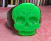 neon green skull cuff bracelet