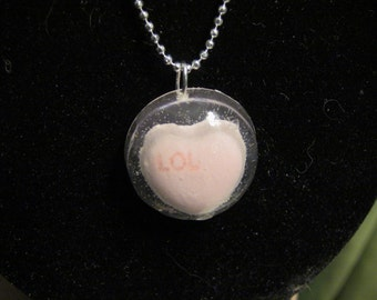 LOL candy heart resin necklace