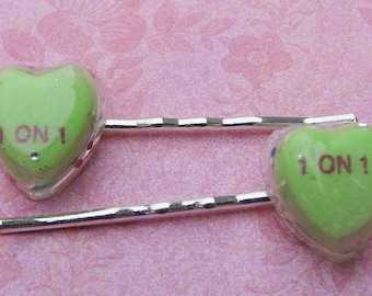5 DOLLAR SALE 1 on 1 candy heart bobby pins