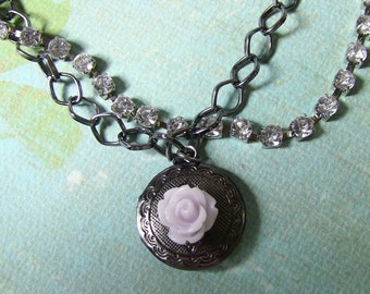 lavender rose gunmetal locket with rhihnestones