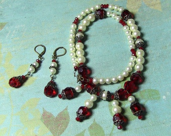 Victorian pearl red glass necklace and earrings set