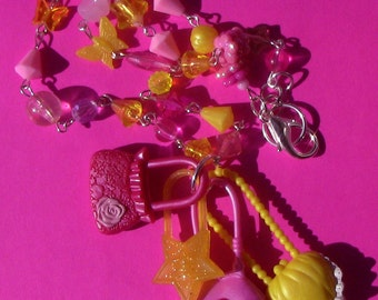 SALE- pink and yellow doll purse beaded necklace