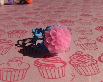 pink chrysanthemum blue brass filigree ring
