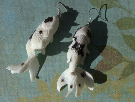 Black and white koi gold fish earrings by hotchickphysics for Black and gold koi