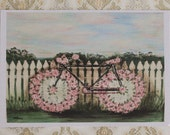 Rosy Bike print on watercolour card from painting 5 x 7""