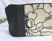 Black and Green Peony Toiletries Bag