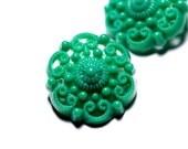 3 Green Filigree Vintage Buttons - Plastic\/ Bakelite