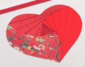 Red Heart Iris Fold Card