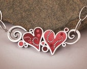 Whimsy Hearts silver and polymer necklace