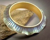 Iridescent polymer Wave Bangle Bracelet