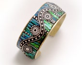Mosaic Brass Cuff Bracelet with polymer clay iridescent and Sterling Silver inlay