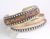 Cuff Brass Bracelets with sterling silver inlaid beads faux polymer burl wood set of 3