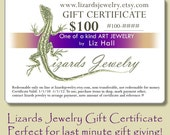 100 Dollar Gift Certificate Lizards Jewelry