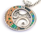 Large Silver and Polymer Pendant with Iridescent inlay and Faux wood - LizardsJewelry