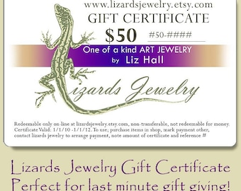 50 Dollar Gift Certificate - Lizards Jewelry