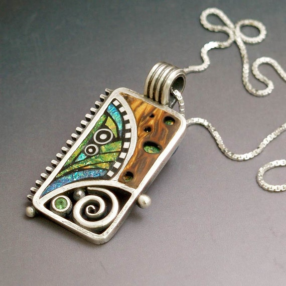Silver and Polymer Pendant with Iridescent Mosaic inlay