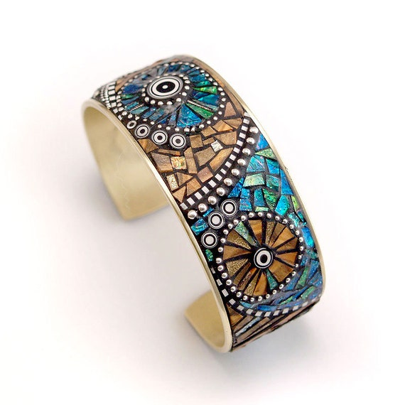 Mosaic Brass Cuff Bracelet with polymer clay inlay, Faux Wood and Sterling Silver