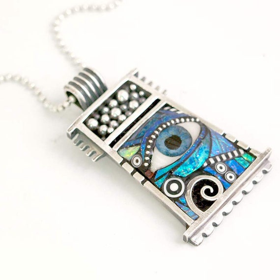 RESERVED for Vicki  - Silver Pendant with Eye inlaid with Blue Green Iridescent Mosaic Polymer