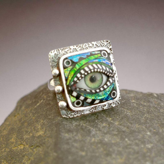 Sterling Silver Eye Ring inlaid with Blue Green Iridescent Mosaic Polymer size 9