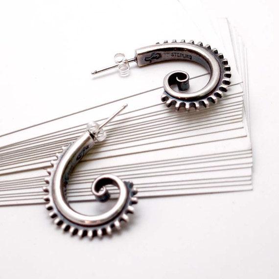 Sterling Silver Twirl Gear Hoop Post Earrings