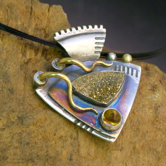 22K Gold and Silver Pendant Yellow Citrine, Rainbow Drusy, fine jewelry,  Aztec Elements