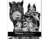 Llamas, Llamas, Llamas - Hand Made Zine - Artwork By Karl Addison