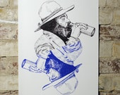 Homeless Man - Limited Edition Two Color Screen Print - Artwork by Karl Addison