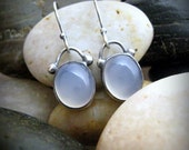 Sterling Silver and Blue Chalcedony Dangle Earrings Handmade by Silversmith LicaLee