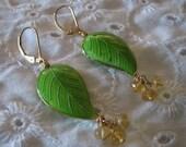 Cloissone Citrine Leaf Earrings