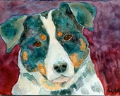 Dog Portrait- Reproduction Print 5x7 inches Watercolor Yupo by Andy Mathis GWS Canine Puppy Pet Lover Owner