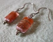 Pink Murky Waters - Glass and Sterling Silver Dangle Earrings
