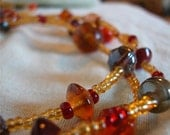 SALE - India - 3 Stranded Topaz Glass and India Glass Bead Necklace