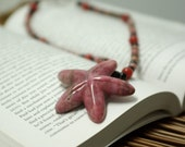 Starfish Pink Rhodocrosite and Black Onyx Necklace - Handcrafted and OOAK - FREE SHIPPING