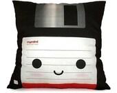 Decorative Deluxe Pillow, Classic Vintage Retro Toy Pillow - Black Floppy Disk