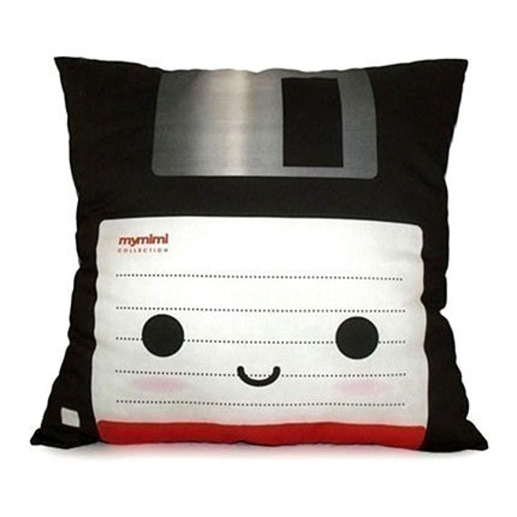 Decorative Deluxe Pillow, Classic Vintage Retro Toy Pillow - Black Floppy Disk