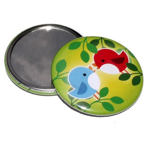 FREE SHIPPING - Pocket Mirror - Friendship Birdies