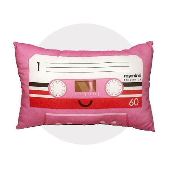 FREE SHIPPING - Decorative Pillow, Travel Size, Retro, Toy Pillow - Pink Cassette Tape