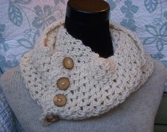 Cream Scarf Ecru Neck Warmer Ivory Alpaca Cowl with 4 Chunky Reclaimed Wood Buttons