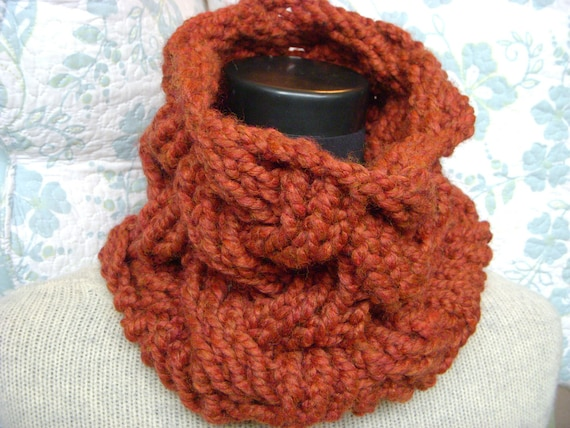 Rust Cable Cowl, Large Chunky Wool Neck Warmer, Dark Pumpkin Burnt Orange Scarflette