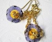 Lampwork Glass Flower Earrings, Gold Chain,  Violet Amber