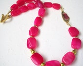 Raspberry Chalcedony Necklace, Watermelon Tourmaline with Vermeil, Semi Precious Stone
