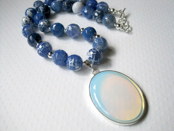 Blue Agate Moonstone Necklace,  Sterling Silver Toggle Clasp