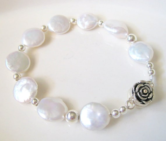 Coin Pearl Bracelet - Milk White Beads -  Rose Ornamental Clasp - Sterling Silver -  Bridal  - Wedding -