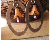 Flora Framed - Orange Lucite and Swarovski Earrings
