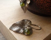 Reserved for Bregetz - Antiqued Brass Leaf Earrings with Swarovski Crystals