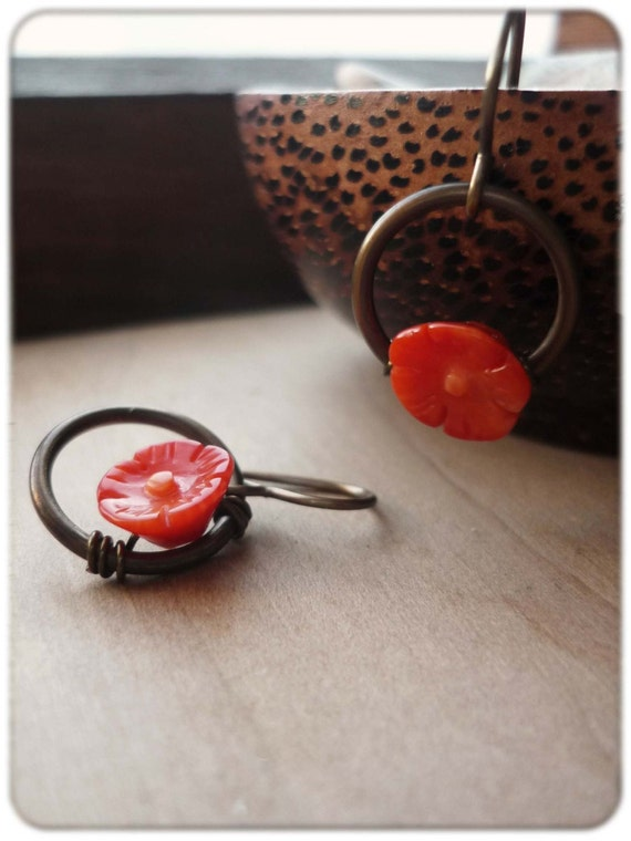 Blossom - Red Coral and Brass Earrings