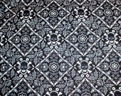 BANDANA - by Alexander Henry Fabrics -  Black, Blue and White Punk Rock Skull Print