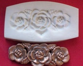 3 ROSES in a ROW flower polymer clay mold
