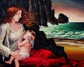 The Lap Ocean Mother Goddess and Child Original painting